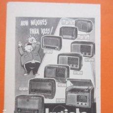 Radios antiguas: PUBLICIDAD 1954 - INVICTA RADIO FELIZ 1955. Lote 210009611