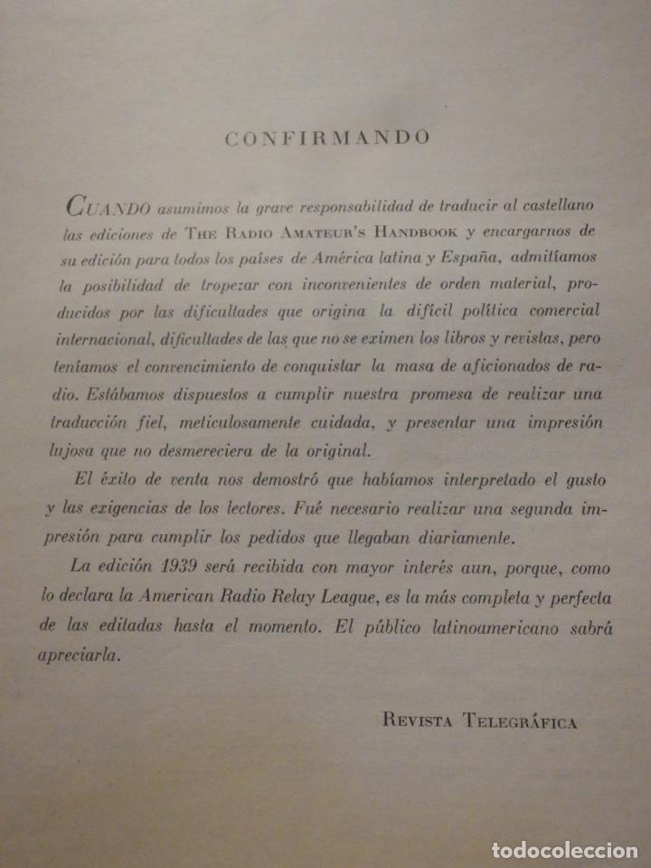 Radios antiguas: Aparatos de radio a Válvulas, The Radio Amateurs HandBook en Castellano - American Relay League 1939 - Foto 6 - 210380302