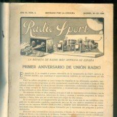 Radios antiguas: NUMULITE * RADIO SPORT REVISTA DE RADIO 1926 1927 VARIOS NÚMEROS EN UN TOMO. Lote 210492500
