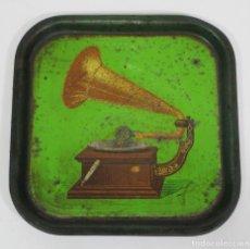 Radios antiguas: BANDEJA PUBLICITARÍA - GRAMÓFONO - LA VOZ DE SU AMO - METAL LITOGRAFIADO. Lote 212987348