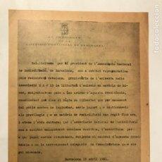 Radios antiguas: CONCESSIO FRANCESC MACIA LLIBERTAT D'EMISSIO RADIO ASSOCIACIO, DATES MEMORABLES 1932. Lote 214980700