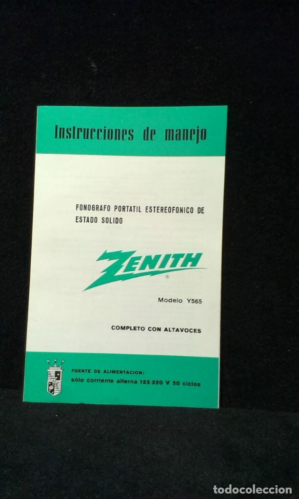 INSTRUCCIONES DE MANEJO - ZENITH MOD. Y565 - FONOGRAFO PORTATIL (Radios, Gramófonos, Grabadoras y Otros - Catálogos, Publicidad y Libros de Radio)