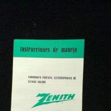 Radios antiguas: INSTRUCCIONES DE MANEJO - ZENITH MOD. Y565 - FONOGRAFO PORTATIL. Lote 217603416