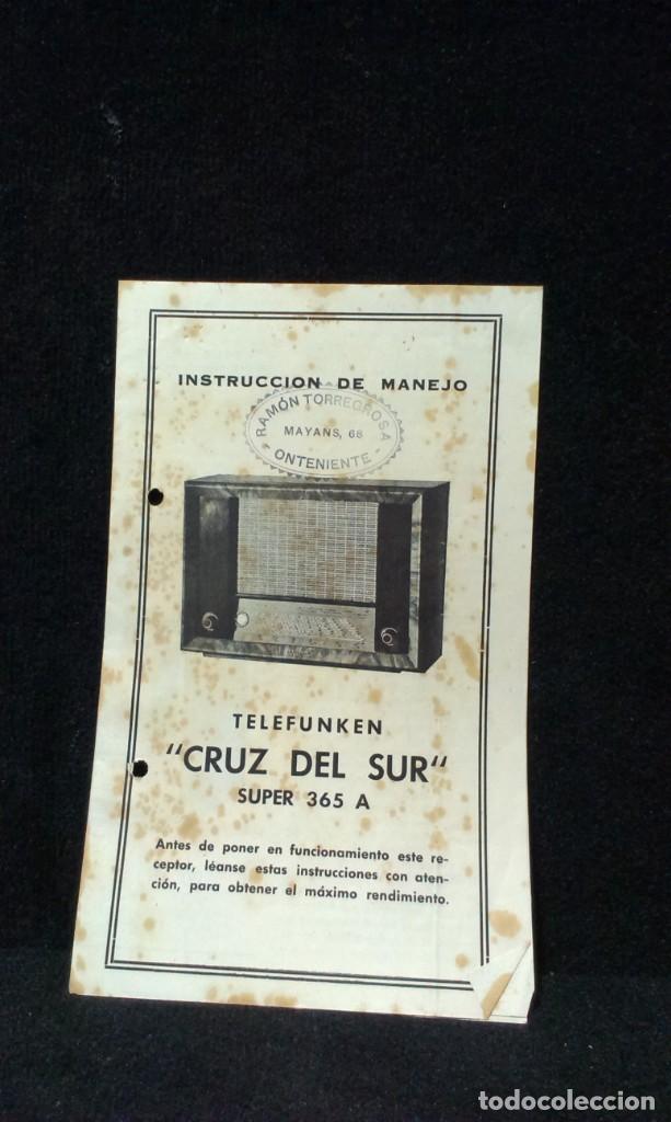 INSTRUCCIONES RADIO TELEFUNKEN CRUZ DEL SUR - SUPER 365 A (Radios, Gramófonos, Grabadoras y Otros - Catálogos, Publicidad y Libros de Radio)