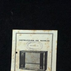 Radios antiguas: INSTRUCCIONES RADIO TELEFUNKEN CRUZ DEL SUR - SUPER 365 A. Lote 218209591