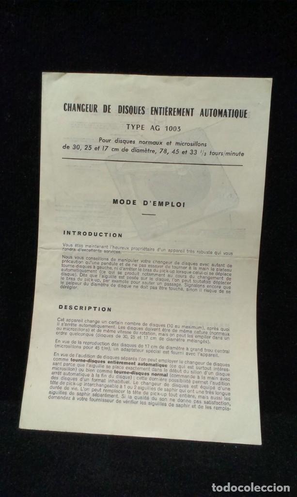 INSTRUCCIONES TOCADISCOS - AG 1003 (Radios, Gramófonos, Grabadoras y Otros - Catálogos, Publicidad y Libros de Radio)