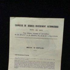 Radios antiguas: INSTRUCCIONES TOCADISCOS - AG 1003. Lote 218209710