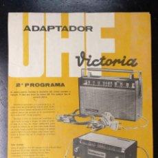 Radios antiguas: FOLLETO HOJA, ADAPTADOR CANALES TELEVISION, RADIO VECTORIA. Lote 219432168