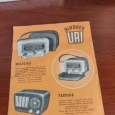 Rádios antigos: ANTIGUO CATÁLOGO PUBLICIDAD RADIO BLOQUES URI. Lote 221103221