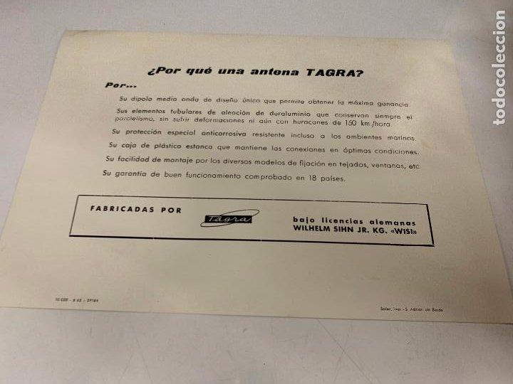 Radios antiguas: Antigua publicidad ANTENA DE TV TAGRA. Tamaño cuartilla. Impecable - Foto 2 - 221389396
