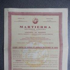 Radios antiguas: MARTIERRA CURIOSA PÓLIZA DE SEGURO CONTRA LA AVERÍAS DE APARATOS DE RADIO SORIA 1954. Lote 222171757