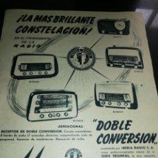 Radios antiguas: IBERIA RADIO, ANTIGUA PUBLICIDAD (1951), GRAN FORMATO 31CM X 26CM.. Lote 225503480