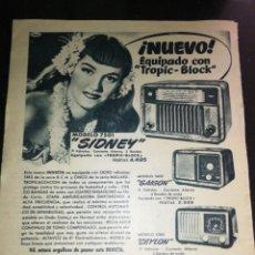 Radios antiguas: INVICTA RADIO, ANTIGUA PUBLICIDAD (1951), GRAN FORMATO 31CM X 26CM.. Lote 225503653