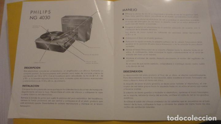 Radios antiguas: ANTIGUO MANUAL INSTRUCCIONES.TOCADISCOS-PICK UP. PHILIPS NG 4030. - Foto 2 - 226379575