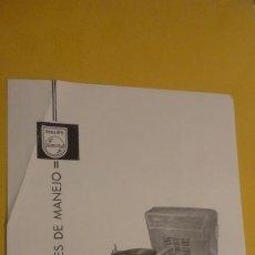 Radios antiguas: ANTIGUO MANUAL INSTRUCCIONES.TOCADISCOS-PICK UP. PHILIPS NG 4030.. Lote 226379575