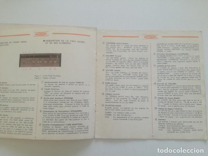 Radios antiguas: SUPERSCOPE MODEL A-245 // MANUAL DE INSTRUCCIONES AMPLIFCADOR STEREO USA AÑOS 60 // A245 - Foto 3 - 226441885