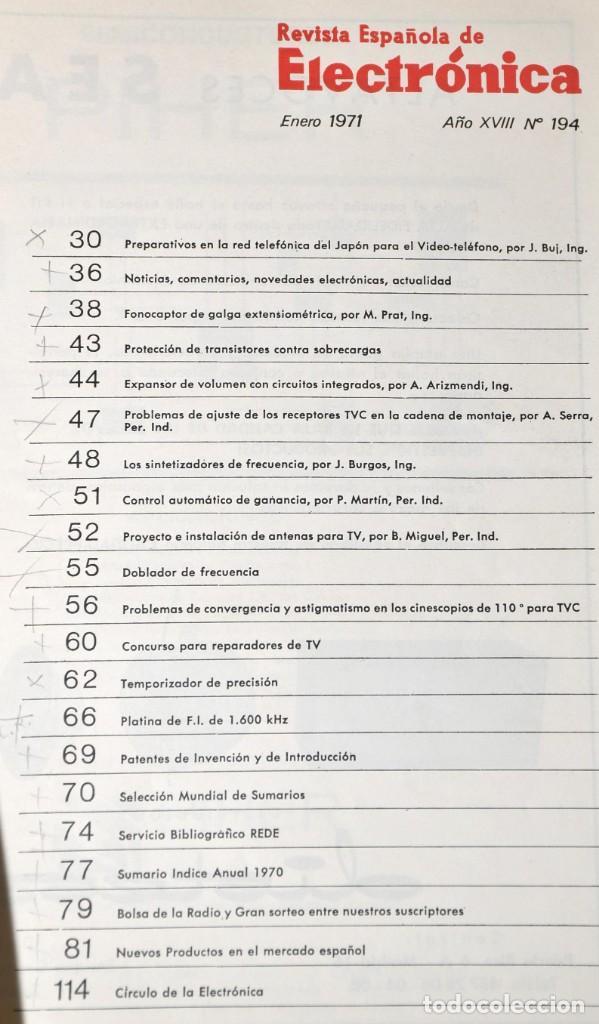 Radios antiguas: 2 REVISTA ESPAÑOLA DE ELECTRÓNICA - ENERO Y NOVIEMBRE DE 1971 - Foto 2 - 228446830