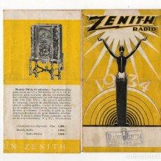Radios antiguas: ZENITH RADIO. 1934. CATALOGO DESPLEGABLE. SELLO RADIO ELECTRA GIJÓN. ASTURIAS. Lote 230594860