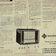 Radios antiguas: INSTRUCCIONES RADIO TELEFUNKEN CRUZ DEL SUR, AÑOS 50. Lote 232854345