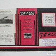 Rádios antigos: BARCELONA-REPRESENTANTE RICARDO RIBAS-ZENITH RADIO-CATALOGO PUBLICIDAD-VER FOTOS-(K-1590). Lote 233595780