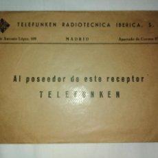 Radios antiguas: LISTA EMISORAS AUDIBLES DE ESPAÑA,DISCO RELOJ INDICADOR MUNDIAL,CARTA DE BIENVENIDA A TELEFUNKEN. Lote 234116465