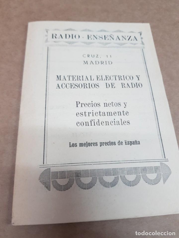 ANTIGUO CATALOGO RADIO ENSEÑANZA MATERIAL ELÉCTRICO Y ACCESORIO DE RADIO MADRID (Radios, Gramófonos, Grabadoras y Otros - Catálogos, Publicidad y Libros de Radio)