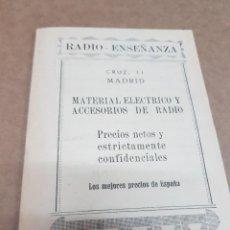 Radios antiguas: ANTIGUO CATALOGO RADIO ENSEÑANZA MATERIAL ELÉCTRICO Y ACCESORIO DE RADIO MADRID. Lote 234489760