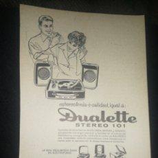 Radios antiguas: (1973)DUALETTE, TOCADISCOS, ANTIGUA PUBLICIDAD. Lote 235377360