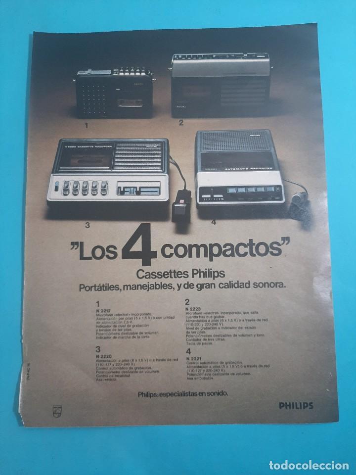 PHILIPS - 4 CASSETTES PORTATILES -1 PAG.34 X 26 CM - PUBLICIDAD AÑO 1975 - RECORTE - VER DETALLES (Radios, Gramófonos, Grabadoras y Otros - Catálogos, Publicidad y Libros de Radio)