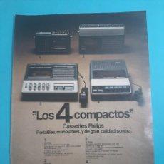 Radios antiguas: PHILIPS - 4 CASSETTES PORTATILES -1 PAG.34 X 26 CM - PUBLICIDAD AÑO 1975 - RECORTE - VER DETALLES. Lote 236043630