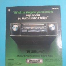 Radios antiguas: PHILIPS -AUTO RADIO -1 PAG.34 X 26 CM - PUBLICIDAD AÑO 1975 - RECORTE - VER DETALLES. Lote 236044195