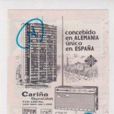 Rádios antigos: PUBLICIDAD T 1964. ANUNCIO TRANSISTOR CARIÑO. TELEFUNKEN. Lote 236055410