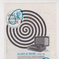 Rádios antigos: PUBLICIDAD T 1964. ANUNCIO TOCADISCOS COSMO DUALETTE 99. Lote 236056505
