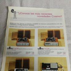 Radios antiguas: TOCADISCOS COSMO PUBLICIDAD ANTIGUA TAMAÑO A4.. Lote 237392745