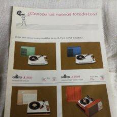 Radios antiguas: COSMO TOCADISCOS, ANTIGUA PUBLICIDAD TAMAÑO A4. Lote 237393060