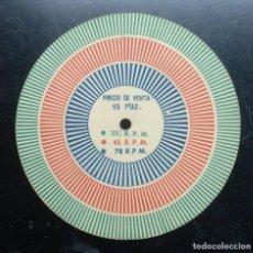 Radio antiche: ELECTRONICA, DISCO CARTON PARA COMPROBAR REVOLUCIONES DE GIRADISCOS - PARANINFO. Lote 243258690