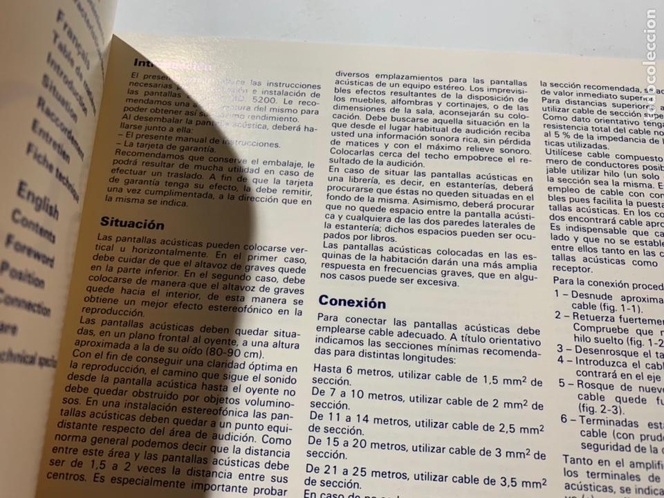 Radios antiguas: Manual de instrucciones pantalla acústica altavoz vieta bd. 5200 - Foto 2 - 244858395