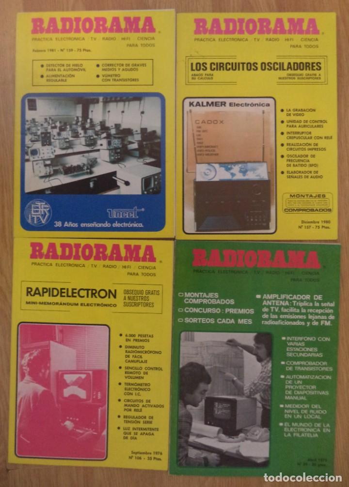 LOTE 4 REVISTAS 'RADIORAMA' ENTRE LOS AÑOS 1975 Y 1981 (Radios, Gramófonos, Grabadoras y Otros - Catálogos, Publicidad y Libros de Radio)