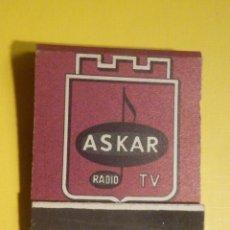 Radios antiguas: CAJA CERILLAS - CARTERITA 20 FÓSFOROS - ASKAR - RADIO TV - FOSFORERA ESPAÑOLA - CASI COMPLETA. Lote 249504860
