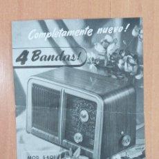 Radios antiguas: PANFLETO DESCRIPTIVO RADIO INVICTA. MOD 5401 CALIFORNIA. Lote 252765145
