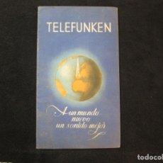 Radios antiguas: TELEFUNKEN-RADIOS Y ACCESORIOS-AÑO 1946-CATALOGO PUBLICIDAD-VER FOTOS-(K-2201). Lote 254427470
