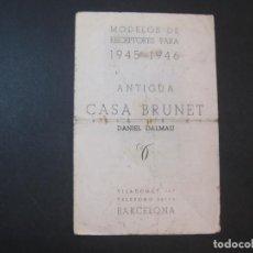 Radios antiguas: BARCELONA-ANTIGUA CASA BRUNET-DALMAU-RECEPTORES RADIO 1945 46-CATALOGO PUBLICIDAD-VER FOTOS-(K-2218). Lote 254435585