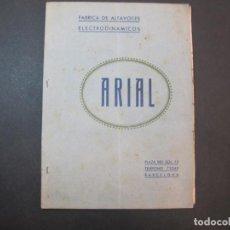 Radios antiguas: ARIAL-FABRICA DE ALTAVOCES ELECTRODINAMICOS-CATALOGO PUBLICIDAD-VER FOTOS-(K-2232). Lote 254440140