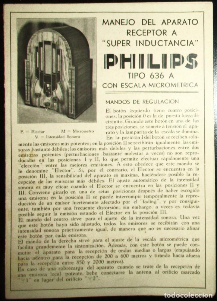 RADIO PHILIPS TIPO 636 A. INSTRUCCIONES DE USO DEL RECEPTOR A SUPER INDUCTANCIA ORIGINALES DE 1935. (Radios, Gramófonos, Grabadoras y Otros - Catálogos, Publicidad y Libros de Radio)