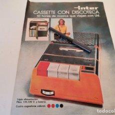 Radios antiguas: CASSETTE CON DISCOTECA INTER ANUNCIO PUBLICIDAD REVISTA 1974. Lote 255401015