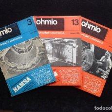 Radios Anciennes: LOTE 3 REVISTAS OHMIO, ELECTRICIDAD Y ELECTRÓNICA. 1965-66. Lote 255674415
