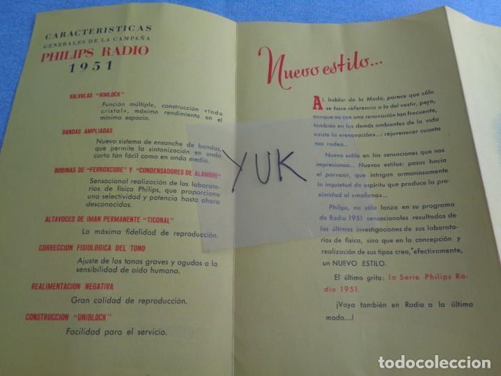 Radios antiguas: BONITO CATALOGO DESPLEGABLE CUADRUPLE DE RADIO PHILLIPS ILUSTRADO A COLOR - 1951 - Foto 7 - 263001925