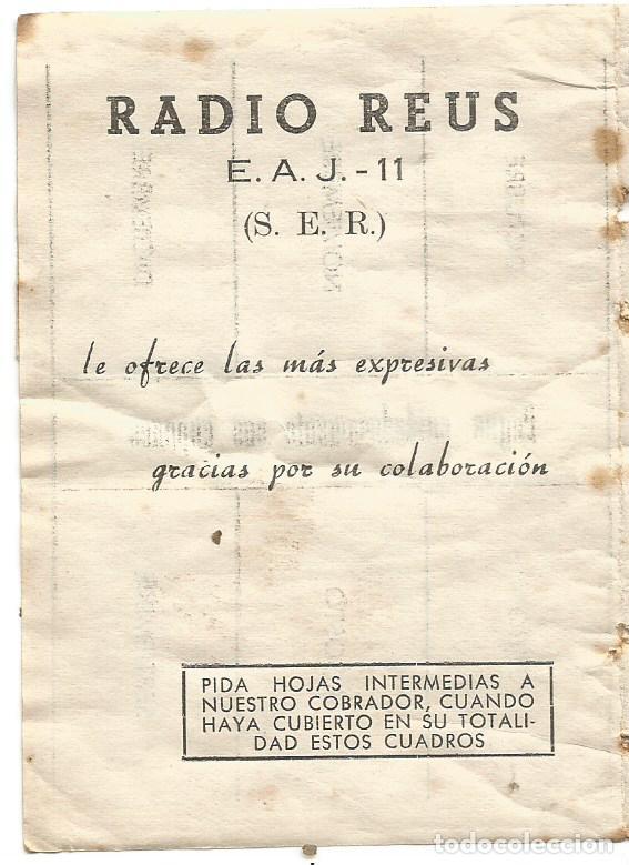 RADIO REUS E. A. J. - 11 ( S. E. R. ) CARTILLA CUPONES CUOTA 1957 COMPLETO (Radios, Gramófonos, Grabadoras y Otros - Catálogos, Publicidad y Libros de Radio)