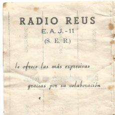 Radios antiguas: RADIO REUS E. A. J. - 11 ( S. E. R. ) CARTILLA CUPONES CUOTA 1957 COMPLETO. Lote 263008685