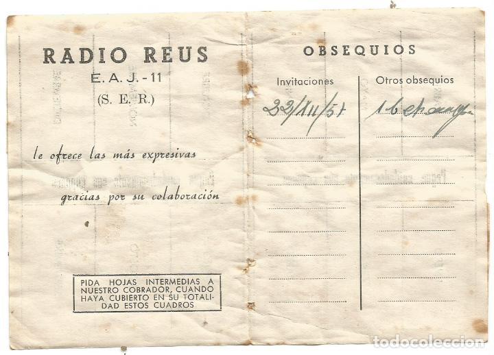 Radios antiguas: RADIO REUS E. A. J. - 11 ( S. E. R. ) CARTILLA CUPONES CUOTA 1957 COMPLETO - Foto 3 - 263008685